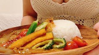 #爆乳 #くまクッキング #とにかく柔らかい 冬なのに夏野菜カレー、、、